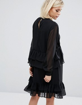 photo Ruffle Dress with Ladder Detail by Lost Ink, color Black - Image 2