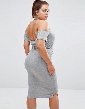 photo Halter Bodycon Dress with Tie Detail by One One Three, color Grey - Image 2