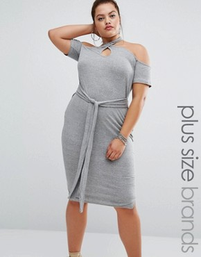 photo Halter Bodycon Dress with Tie Detail by One One Three, color Grey - Image 1