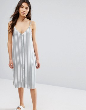 photo Button Front Cami Midi Dress In Stripe by Native Youth, color  - Image 1