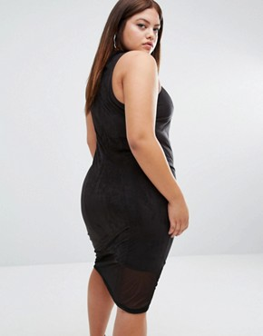 photo Suedette Midi Dress with Mesh Insert by One One Three, color Black - Image 2