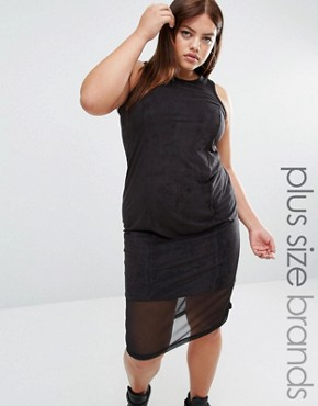 photo Suedette Midi Dress with Mesh Insert by One One Three, color Black - Image 1