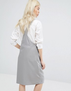 photo Minimal Pinafore Midi Dress by Native Youth, color Grey - Image 2