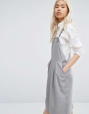photo Minimal Pinafore Midi Dress by Native Youth, color Grey - Image 1