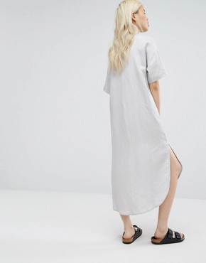 photo Relaxed Shirt Dress Dipped Hem by Native Youth, color Grey - Image 2