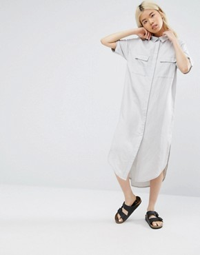 photo Relaxed Shirt Dress Dipped Hem by Native Youth, color Grey - Image 1