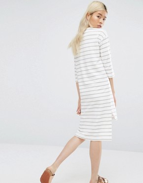 photo Long Sleeve T-Shirt Dress In Breton Stripe by Native Youth, color White - Image 2
