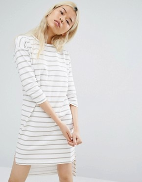 photo Long Sleeve T-Shirt Dress In Breton Stripe by Native Youth, color White - Image 1