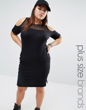 photo Cold Shoulder Striped Dress with Mesh Insert by One One Three, color Black - Image 1