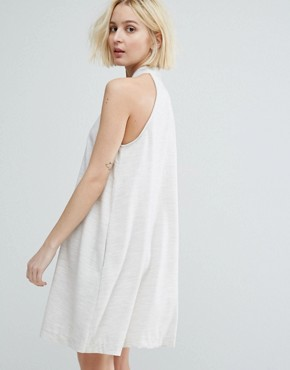 photo High Neck Swing Dress with Button Front by Native Youth, color Oatmeal - Image 2