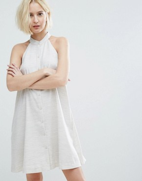 photo High Neck Swing Dress with Button Front by Native Youth, color Oatmeal - Image 1