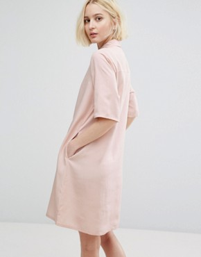 photo Minimal Shirt Dress by Native Youth, color Pink Sand - Image 2