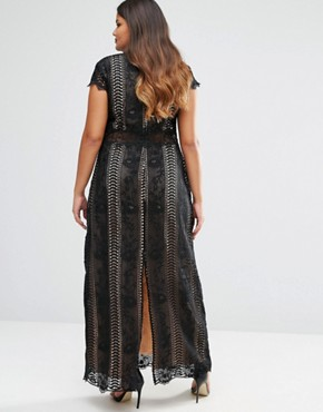 photo Panelled Lace Maxi Dress with Cap Sleeve by Truly You, color Black - Image 2