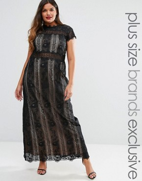 photo Panelled Lace Maxi Dress with Cap Sleeve by Truly You, color Black - Image 1