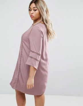 photo Fluted Sleeve Shift Dress by Truly You, color Mauve - Image 2