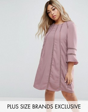 photo Fluted Sleeve Shift Dress by Truly You, color Mauve - Image 1