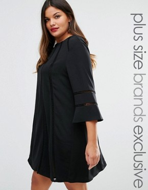photo Fluted Sleeve Shift Dress by Truly You, color Black - Image 1