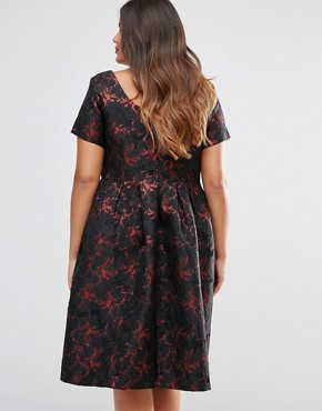 photo Brocade Midi Dress by Truly You, color Black - Image 2