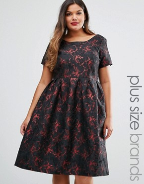 photo Brocade Midi Dress by Truly You, color Black - Image 1