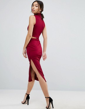 photo Slinky High Neck Twist Knot Midi Dress by ASOS, color Oxblood - Image 2