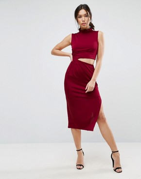 photo Slinky High Neck Twist Knot Midi Dress by ASOS, color Oxblood - Image 1