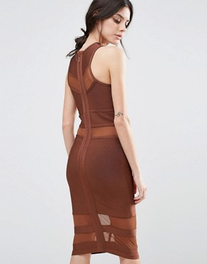 photo Bandage Midi Dress with Mesh Inserts by True Decadence Petite, color Brown - Image 2