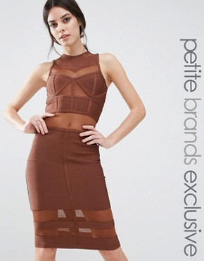 photo Bandage Midi Dress with Mesh Inserts by True Decadence Petite, color Brown - Image 1