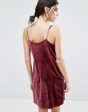 photo Allover Velvet Mini Slip Dress by One Day Petite, color Dark Rose - Image 2