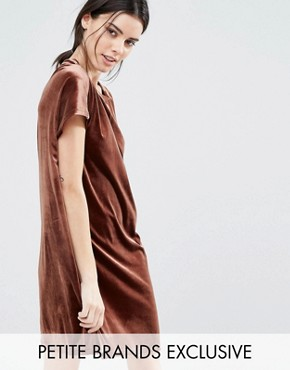 photo Allover Velvet Mini Shift Dress by One Day Petite, color Chocolate - Image 1