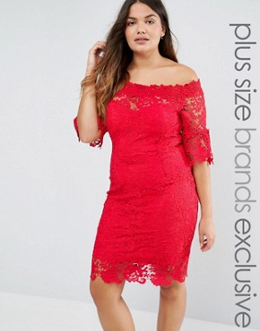 photo All Over Lace Bardot Dress by Paper Dolls Plus, color Red - Image 1