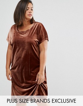photo Allover Velvet Mini Shift Dress by One Day Plus, color Chocolate - Image 1