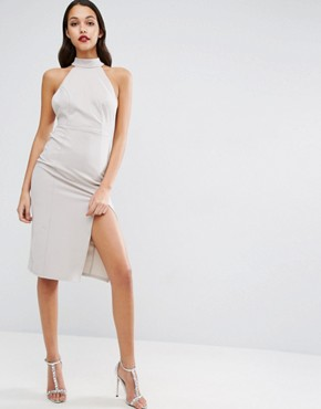 photo Strappy Back Embellished Choker Neck Pencil Dress by ASOS, color Grey - Image 2