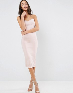 photo Strappy Midi Bodycon with Seam Detail Dress by ASOS, color Nude - Image 2