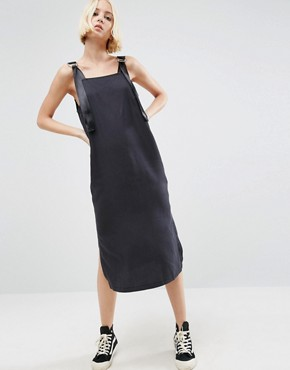 photo Denim Slip Dress in Washed Black With D- Rings by ASOS, color Black - Image 2