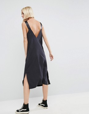 photo Denim Slip Dress in Washed Black With D- Rings by ASOS, color Black - Image 1
