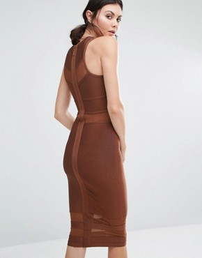 photo Bandage Midi Dress with Mesh Inserts by True Decadence Tall, color Brown - Image 2