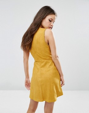 photo Geo Applique Mini Skater Dress In Faux Suede by Glamorous Petite, color Mustard - Image 2