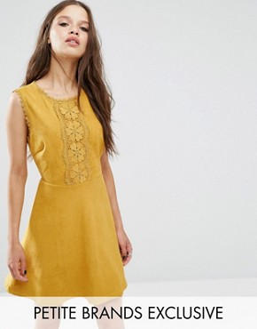 photo Geo Applique Mini Skater Dress In Faux Suede by Glamorous Petite, color Mustard - Image 1