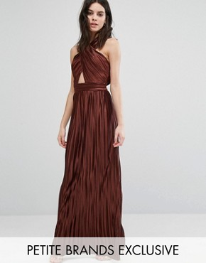 photo Allover Pleated Cross Front Open Back Maxi Dress by True Decadence Petite, color Copper - Image 1
