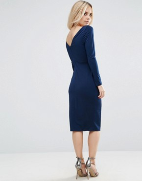photo Long Sleeve Wrap Pencil Dress by ASOS PETITE, color Navy - Image 2