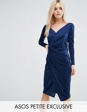 photo Long Sleeve Wrap Pencil Dress by ASOS PETITE, color Navy - Image 1