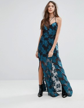 photo Floral Cami Maxi Dress with Split by Lovers + Friends, color Jade - Image 1