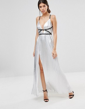 photo Silver Metallic Pleated Maxi Dress by True Decadence, color Silver - Image 1
