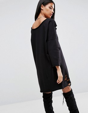 photo Off Shoulder Sweat Dress with Nibbles by ASOS, color Black - Image 2