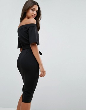 photo Midi Dress with Off Shoulder and Self Tie by ASOS, color Black - Image 2