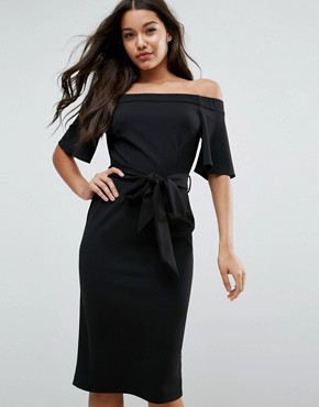 photo Midi Dress with Off Shoulder and Self Tie by ASOS, color Black - Image 1