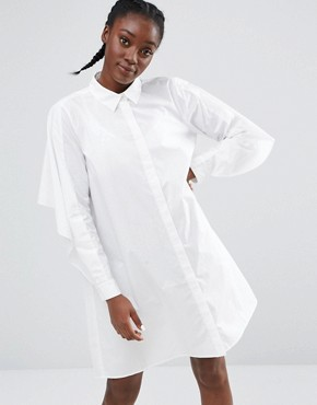 photo Exclusive Swing Shirt Dress by Monki, color White - Image 1