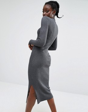 photo High Neck Knitted Rib Dress by Monki, color Grey - Image 2