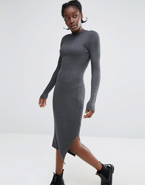 photo High Neck Knitted Rib Dress by Monki, color Grey - Image 1