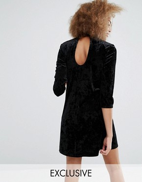 photo Keyhole Neck Velvet Skater Dress by Monki, color Black - Image 1